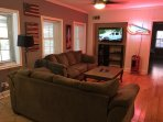 Lower level living area, flat screen HD TV with Cable + High Speed internet included