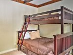 The bunk bed comfortably sleeps 3.