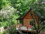 Log Cabin with covered deck and large open deck with BBQ