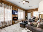 We have a 55' Smart TV in the living room, it offers a multitude of shows, music and Netflix!