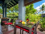 Grill steaks or the catch of the day and enjoy al fresco dining on the lanai.