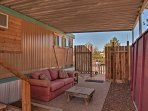Relax on the covered patio after a day visiting Elephant Butte State Park.