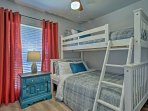 Bedroom 3 includes a  twin-over-full bunk bed.