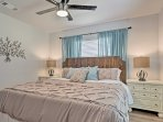 In the cozy master bedroom you'll find a king-sized bed, flat-screen Smart TV, and plenty of closet space.