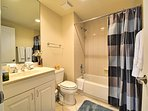 Guest bathroom with tub shower