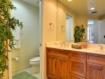Double sinks and separate lavatory in master bathroom