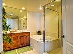 Walk in shower and garden tub in master bathroom