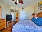 TV, walk in closet, and en suite bathroom in master bedroom