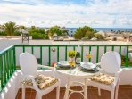 Sunny terrace with sea views