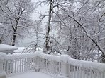 View of the lake from deck in winter
