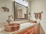 This bathroom offers a beautiful double vanity.