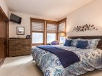 Master Bedroom, King Bed, flat screen tv, En-Suite Full Bathroom with Double Vanity
