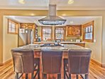 Kitchen Island with Gas Stove and Bar Seating for 3