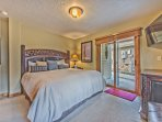 Bedroom 3 on the 1st Level with Queen Bed, Flat Screen TV, Full Bath and Patio Access with Hot Tub