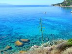 Clear crystal water of the Ionian sea. Spartia.