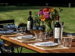 Dining with wine made from the property