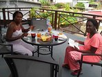 French guests enjoying breakfast at S-Villa