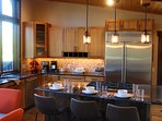 Large kitchen island offers additional seating