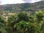 Beautiful mountains and lush fruit trees in surrounding landscape