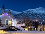 Night view of Callisto's with Breckenridge ski resort in background