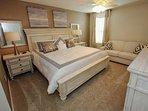 Stunning King Master Bedroom Suite Featuring an En-Suite Bathroom, Sofa Sleeper and Flat Screen TV (Upstairs)