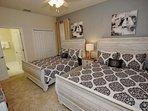 Upstairs Double Queen Bedroom Suite - Two Queen Beds (Sleeps 4), En-Suite Bath & Flat Screen TV w/Cable