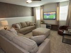 Upstairs Den Area with Overstuffed Comfortable Furniture, Flat Screen TV and Cable