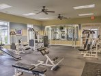 Hit the community gym during your trip to stay fit!