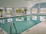 If it's a bit too chilly to swim outside, swim a few laps in the indoor pool and warm up in the hot tub.