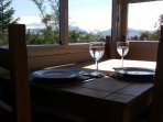 Dining area with view of Rhinogs.