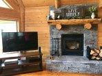 Wood burning fireplace and Smart TV.