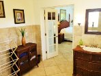 French door from master bath into bedroom upstairs 1 br