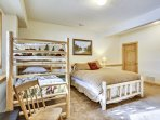 Guest Bunkroom, with bunk beds and a queen mattress