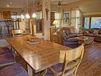 The dining table is extra large, easily seating 8