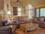 Comfy leather furniture, heated hardwood floor