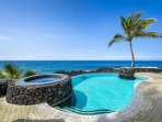 Private infinity edge pool and solar heated spa!