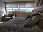 The newly decorated oceanfront master bedroom provides a comfortable king bed for a restful sleep