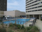 The oceanfront pool (between the building and the beach). Adult swim times and extended hours!!