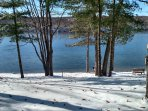 Winter view of Blue Lake from cottage