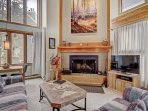Living Room - Cozy up around the wood-burning fireplace.