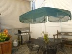 Private, outdoor courtyard with new propane grill