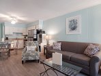 Spend your downtime relaxing in the comfortable living area.