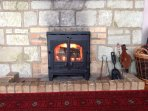 Enjoy cosy evenings with the log stove in the colder months