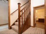 Hallway on lower floor where bedrooms are located.****PLEASE BE AWARE - REDUCED HEIGHT DOORWAY****