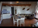 Kitchen, dining room with stunning sea, beach views
