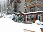An on-site ski storage and shop make it easy to get on the mountain on a powder day!