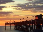 Beautiful sunsets enjoyed from Sharky's on the Pier restaurant