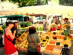 Sunday morning market in St Pierreville. There are also cheese and other local produce stalls.