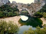 The Pont d'Arc in the Ardeche Gorges. The gorges are spectacular and within just over one hour drive