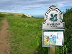 Step outside the site gate onto the coastal path and you are on Bembridge Down, AONB.
